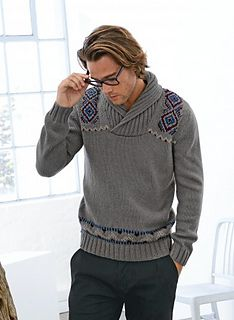 A well crossed shawl collar to keep out the cold plus horizontal and vertical Jacquard detailing to guarantee a high-fashion look. The sweater is knitted in 2x2 rib, stocking stitch and Jacquard on 3.5 mm - 4 mm and 4.5 mm needles.