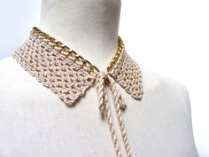 Peter Pan Collar Crochet Necklace - Gold Metal Chain and Beige Sand Cotton