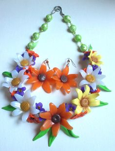 Colourful necklace and earrings Marigold flower Polymer by insou, $37.50