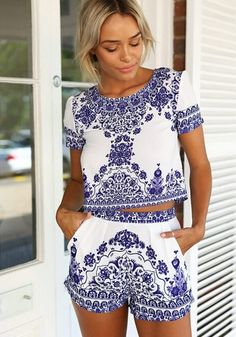 Blue-White Floral Short Sleeve 2-in-1 Dress