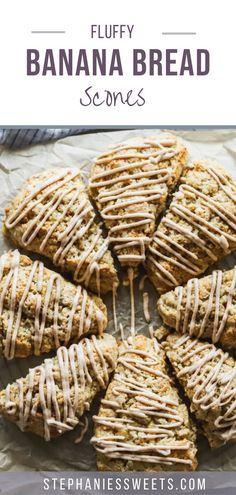Mini Dessert Recipes, Fun Baking Recipes, Scone Recipes, Cooking Recipes, Desserts, Banana Scones, Easy Banana Bread, Mini Scones, Cinnamon Scones