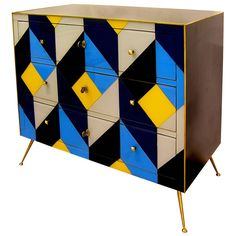Exceptional One-of-a-Kind Italian Graphic Sideboard or Chest   From a unique collection of antique and modern commodes and chests of drawers at https://www.1stdibs.com/furniture/storage-case-pieces/commodes-chests-of-drawers/