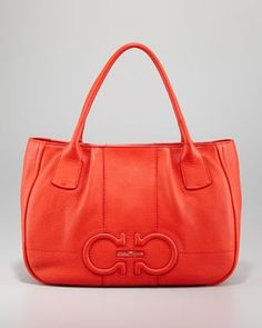 Salvatore Ferragamo Izzie Gancini-Embossed Tote Bag, Red in February Essentials 2013 from Neiman Marcus on shop.CatalogSpree.com, my personal digital mall.