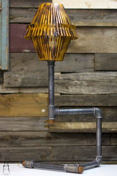 Pipe and wood lamp. by PriosTeam on Etsy Wooden Lampshade, Table Lamp Wood, Wood Lamps, Pipe Dream, Handmade Wooden, Man Cave, Lighting, Inspiration, Industrial