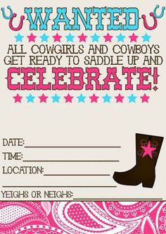 vintage cowgirl printable birthday party invitation, rustic, Party invitations