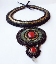 Bead Embroidery Necklace.Unique handmade jewelry. by beadsbyPanka, Ft48000.00