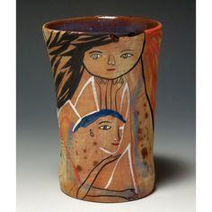 orange - vase - faces - Jenny Mendes - ceramic