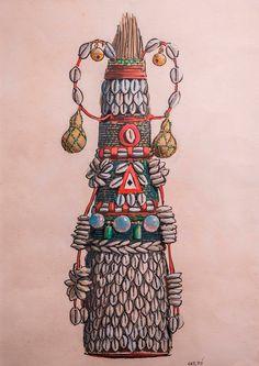 Alabês e Xaxará de Omolu do Babalorixá Bandanguame: ilustração de Carybé