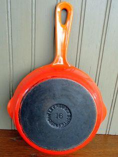 Vintage Le Creuset enamel cast iron skillet