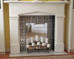 faux silver ceiling tin Faux Fireplace Mantels, Fireplace Logs, Fireplace Mirror, Concrete Fireplace, Marble Fireplaces, Fireplace Remodel, Fireplace Inserts, Fireplace Surrounds, Fireplace Design
