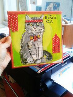 Le Karaté Cat by Pôline Deco Originale, Illustrations, Baseball Cards, Cats, Board, Gatos, Illustration, Cat, Kitty