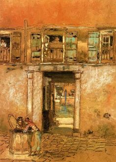 "artist-whistler: "" Courtyard and Canal, James McNeill Whistler Size: cm Medium: chalk"" James Abbott Mcneill Whistler, Illustrations, Illustration Art, Diego Velazquez, John Singer Sargent, Art Database, Chalk Pastels, William Turner, American Artists"