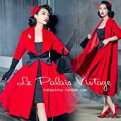 Otoño invierno mujeres vintage pin up rojo de lana de cachemira largo rockabilly manga poncho abrigos casaco abrigo más del tamaño grande 4xl feminino en De lana y Mezclas de Ropa y Accesorios de las mujeres en AliExpress.com   Alibaba Group