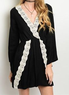 Beautiful Spring Dress (Black, Coral & Beige)