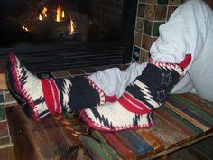 Cowpoke Slouchers   Felted Blanket Wool Slipper by baabaabaxsheep, $150.00