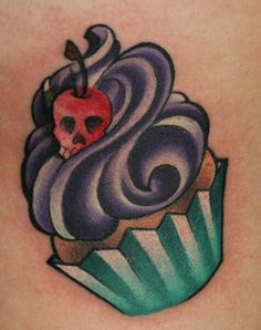 halloween skull tattoo for girls.Cupcake with a cherry skul. Tattoos and Tattoo Designs Cupcake Tattoo Designs, Cupcake Tattoos, Tattoo Girls, Tattoo You, Girl Tattoos, Fashion Tattoos, Tatoos, Candy Tattoo, Cherry Tattoos