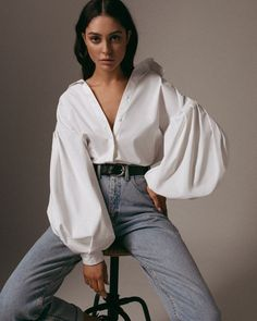 Women White Casual Puff Sleeve Button Up Shirt - S Model Poses Photography, High Fashion Photography, Photography Studios, Photography Challenge, Glamour Photography, Photography Women, Photography Business, Lifestyle Photography, Woman Portrait Photography