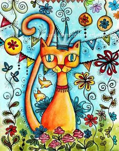Cat Art Print, Giclee Art Print, Illustration Art Print, Whimsical Flowers, Storybook Art, Original Art Print, 8 x 10. $20.00, via Etsy.