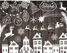 "40%SALE Chalkboard Christmas Clipart: ""CHRISTMAS CLIP Art"" Snowflake clipart Christmas deer Merry Christmas clipart new year clipart christm"