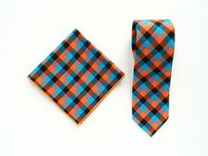 Blue orange plaid tie pocket square wedding tie gift for men blue orange plaid tie groomsmen uk by TheStyleHubTrends on Etsy
