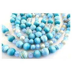 """Blues Necklace XL 56"""" Vintage Beaded Necklace 60s ($17) ❤ liked on Polyvore featuring jewelry, necklaces, vintage blue necklace, vintage jewellery, beaded jewelry, beading necklaces and blue jewelry"""