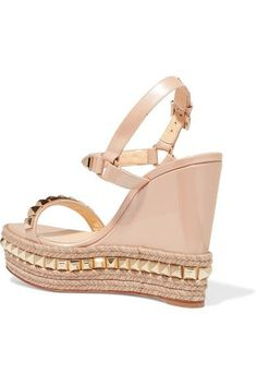 Christian Louboutin - Cataclou 120 Studded Patent-leather Wedge Sandals - Beige