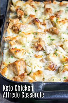 Keto Chicken Alfredo Casserole is an easy, cheesy low carb meal packed full of chicken, cheese, and cauliflower. It's the perfect keto dinner solution for feeding the whole family. Use shredded rotisserie chicken or make your own, add it to steamed cauliflower and cover with a homemade keto alfredo sauce and more cheese. It's an easy keto dinner idea that everyone will love. #ketorecipe #ketodiet #keto #lowcarb #chicken #cheese Alfredo Casserole Recipe, Alfredo Recipe, Keto Casserole, Keto Recipes, Cooking Recipes, Soup Recipes, Ketogenic Dinner Recipes, Bread Recipes, Low Carb Dinner Recipes