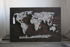 """String Art 30""""x18"""" World Map Darkly Stained Wood on Etsy, $130.00"""