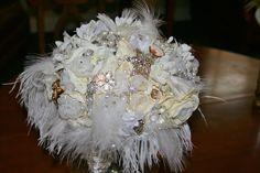 Feathered jeweled mixed bridal bokay