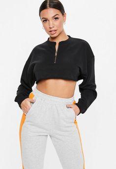 d9301dacb4c6e Petite Black Oversized Zip Front Cropped Sweatshirt