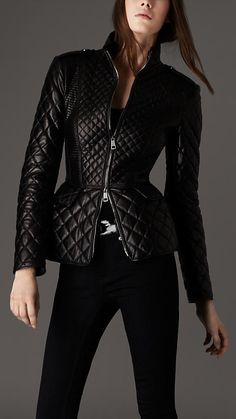 Burberry Quilted Peplum Leather Jacket