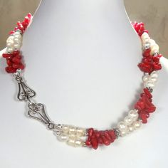 Red Coral and Pearl Necklace with Bali Silver Double Strand pink ...