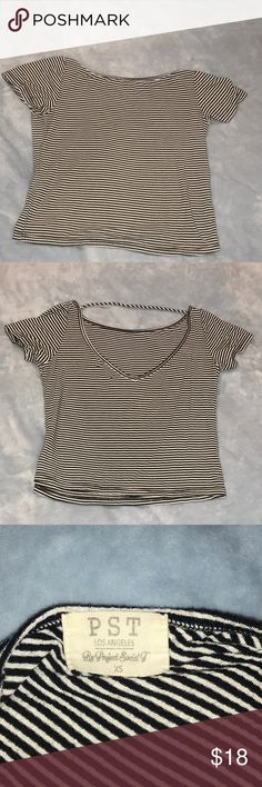 Cute cropped shirt Cute cropped striped shirt from Project Social T. Worn twice. Project Social T Tops Crop Tops