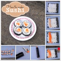 How to make sushi. I want to start making mine cause most sushi places use farm raised fish---ewww! Sushi Recipes, Raw Food Recipes, Seafood Recipes, Cooking Recipes, How To Make Sushi, Food To Make, Tasty, Yummy Food, Food Hacks