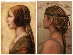Just in case you are interested in reviving the look of an early hair snood inspired by Da Vinci's La Bella Principessa. :) ( Many medieval and renaissance styles are re-emerging in this century) Italian Renaissance Dress, Costume Renaissance, Renaissance Hairstyles, Historical Hairstyles, Edwardian Hairstyles, Renaissance Fashion, Renaissance Clothing, Crown Hairstyles, Richard Iii