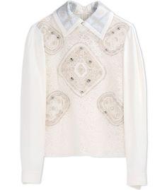 ShopBazaar Peter Pilotto White Collared Lace Blouse MAIN