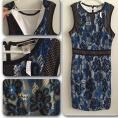 💙Happy Blues Bandage Dress💙 💙👗Elegant black, white and blue design. Brand new; never worn. Excellent quality material. Just above the knee. Great details shown in pics. Zipper enclosure on back. 💙👗 Dresses