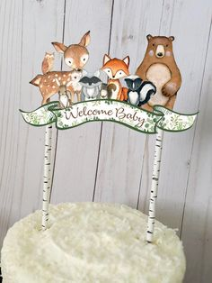 Woodland Cake Topper, Woodland Greenery Welcome Baby Cake Decoration, Woodland Animals toppers, Woodland Baby Shower Decorations – – … - Gutzg Sites First Birthday Cake Topper, Happy Birthday Cakes, Birthday Fun, Fondant Baby, Fondant Rose, Fondant Flowers, Fondant Cakes, Nightmare Before Christmas, Baby Shower Cakes