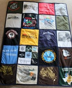 I'd love to get this made for me! How-to make a quilt out of old t-shirts for people who don't sew. Memory Quilt!