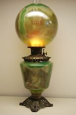 ANTIQUE OLD GREEN GLASS KEROSENE OIL GWTW BANQUET PARLOR VICTORIAN VINTAGE LAMP