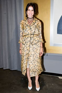 "Natasha Goldenberg in dress and collar Prada at the opening of the exhibition ""time effect: modern fashion influence of the Russian avant-garde"""