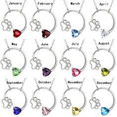 Love Shape Gemstone Paw Print Birthstone Silver Pendant Necklace  Price: 6.15 & FREE Shipping  #pets #dog #doglovergifts
