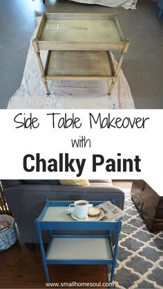 Chalky Paint Side Table makeover with Diva of DIY Chalk Mix turned this old side table from blah to beautiful!