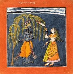 """Lahula raga"", Krishna and chauri-bearer, opaque watercolour on paper, Kulu, ca. 1700-1710. Inscription says: 'Vahula Raga son of Dipaka, seventh sheet'. Best view (click & enlarge): http://media.vam.ac.uk/collections/img/2013/GD/2013GD6310_2500.jpg"