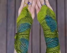 054cadcabe33 Felt Melted Pixie Woodland Fairy Matching Moss Arm Cuffs With Leaves OOAK