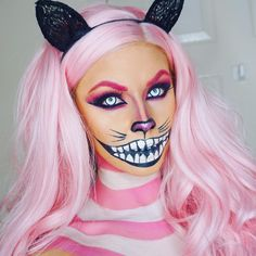 cat, Halloween, and pink image Cheshire Cat Makeup, Cheshire Cat Halloween, Cat Halloween Makeup, Pink Halloween, Halloween Looks, Cheshire Cat Costume, Scary Halloween, Halloween Costumes, Alice In Wonderland Makeup