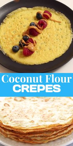 Dec 2019 - These Coconut Flour Crepes are gluten-free, low-carb and paleo. Add your favorite fillings like whipped (coconut) cream and berries for a wholesome treat! Desserts Keto, Keto Friendly Desserts, Gluten Free Desserts, Gluten Free Recipes, Low Carb Recipes, Dessert Recipes, Recipes Dinner, Coconut Flour Crepes, Coconut Flour Baking