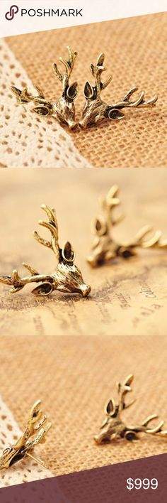 """COMING SOON!! Gold Deer Antler Stud Earrings COMING SOON!! """"Like"""" To Be Notified!! Brand new in original packaging.  Antique gold vintage bronze color deer antler stud earrings. 24MM with push-backings. Weight: 5g.  Made of antique gold electroplated metal. Jewelry Earrings"""