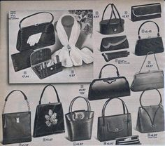 Breaking down the trends & styles of purses & handbags with pictures. Featuring vintage purses like Chanel, Gucci, Hermes, lucite handbags and more. Vintage Purses, Vintage Bags, Vintage Handbags, Vintage Shoes, Vintage Outfits, Fashion Handbags, Purses And Handbags, Fashion Bags, Hermes Handbags
