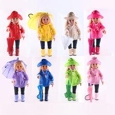 Waterproof Doll Clothes Raincoat Pants Boots Hat Umbrella Set for 18'' American Girl/ 43-45cm Zapf Baby Born Dolls Accessories